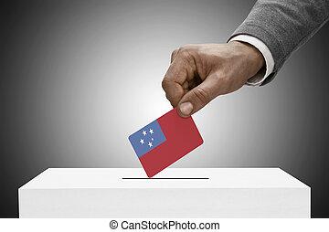concetto, Samoa, bandiera, -, nero, presa a terra,...