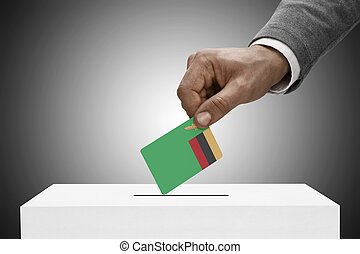 Black male holding flag. Voting concept - Zambia