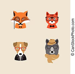 Hipster Animals set of vector icons. - Collection of hipster...