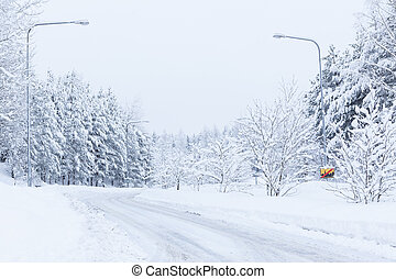 Snow landscape and road at winter