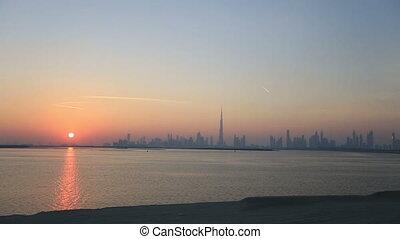 time lapse view of Dubai skyscraper