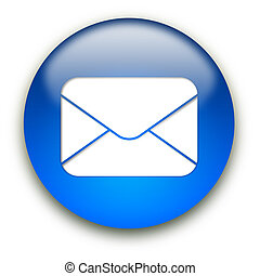 Mail envelope icon button - Glossy mail envelope icon button...