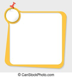 yellow text box with pushpin and paper
