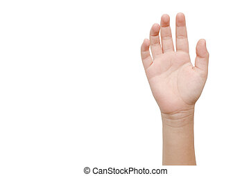 Childs Hand gesture with 5 fingers