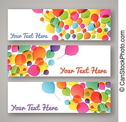 Set of colorful balloons banners