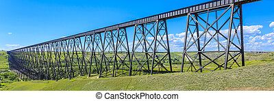 Tall Train Bridge - The High Level Bridge in Lethbridge,...