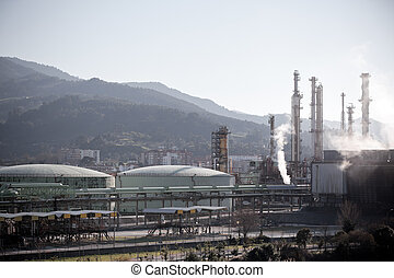 View of an Oil Refinery Plant. Horizontal shot