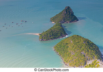 Birds-eye-view of three island located in south of Thailand