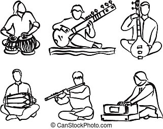 Indian musician set - vector silhouette set of indian...
