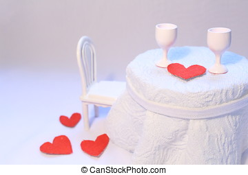 Romantic table in a cafe with red hearts - White romantic...