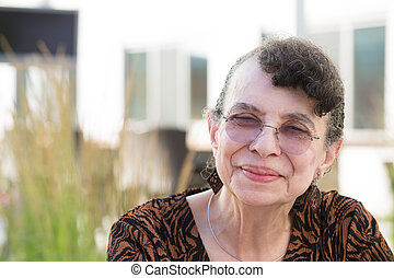 Headshot - Closeup headshot portrait, grandmother with...