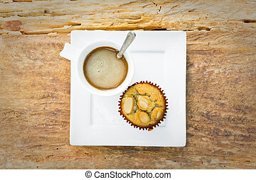 Banana cup cake with hot coffee for relax time