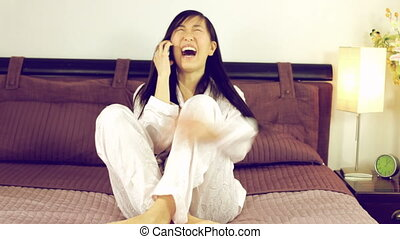 Happy asian american woman relaxing