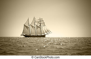 Old three mast schooner - Three mast schooner under sails on...