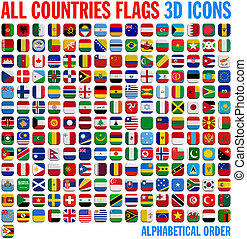 All country flags complete set. 3D and isolated square...