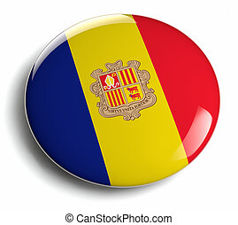 Andorra flag design round badge.