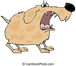 Barking dog - This illustration depicts a furry dog with a...