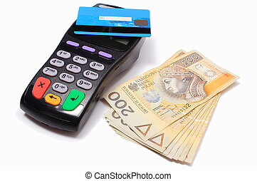 Payment terminal with contactless credit card and money on...