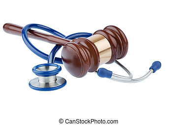 gavel and stethoscope, symbolic photo for bungling doctors...