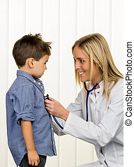 doctor and young boy - physicians and little boy icon...