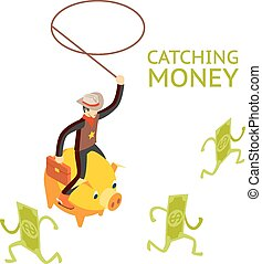 Catching money concept. Cowboy riding a piggy bank catches...