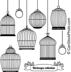 Birdcages silhouettes - Set of silhouettes of different...