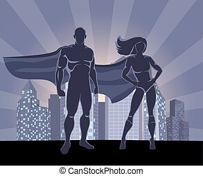 Superhero and female superhero silhouettes - Illustration...