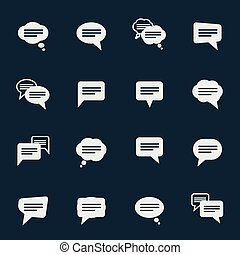 Simple speech bubble icons - Set of simple speech bubble...