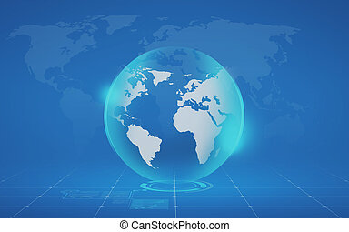 virtual globe and map over blue background - global...
