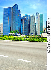 Singapore road - Urban road in Singapore Downtown Core of...
