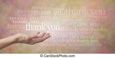 Thank you SO much - Female hand outstretched with the word...