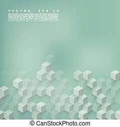 Vector Abstract geometric shape from gray cubes Turquoise...
