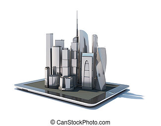 Tablet with 3d city streetmap of office blocks and...