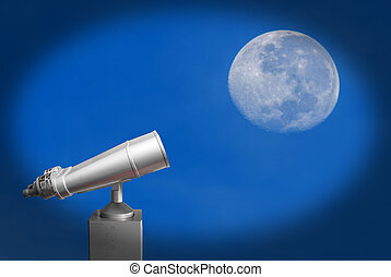 steel binoculars over blue sky and big moon