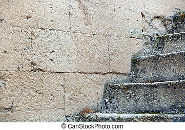 Stony staircase of old building. Horizontal photo