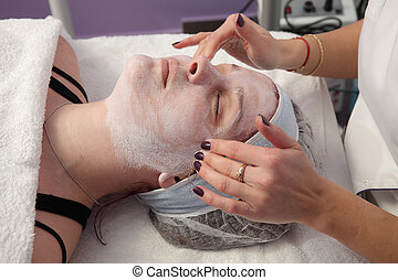 Beauty treatment of young female face - Skin treatment,...