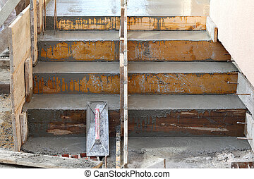 Staircase making at construction site - Wooden formwork for...