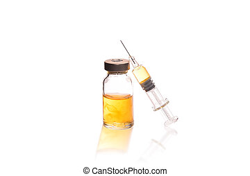 vidrio, Medicina, frasco, y, vidrio, jeringuilla, para,...