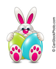 easter bunny holding colored eggs over white background