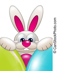 easter bunny holding colorful eggs with place for text
