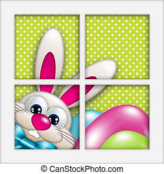 easter bunny with eggs looking by the window - easter...