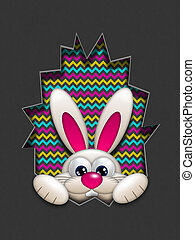 easter bunny hidden in egg hollow with place for text -...