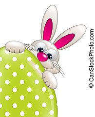 easter bunny holding spring egg with place for text - easter...