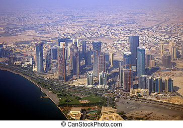 Business district, Doha, Qatar - Aerial view of the business...