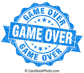 game over blue grunge seal isolated on white