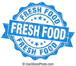 fresh food blue grunge seal isolated on white