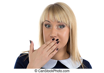 Photo of surprised blond business woman