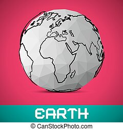 Crumpled Paper Vector Earth - Globe Illustration on Pink...