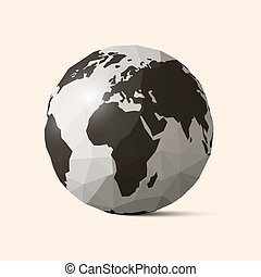 Vector Earth - World Globe Crumpled Paper Illustration