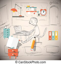 Graphic Designer or Architect - Engineer in Office Vector Sketch Illustration